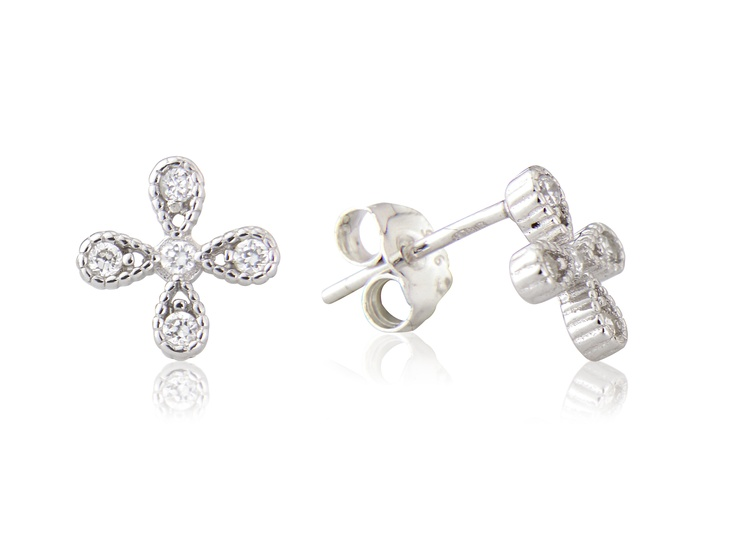 Crystal centre sterling silver earrings. 4 crystal pears with beaded surround studs.   Think Kate Moss's informal wedding. Daisies and wild flowers spring to mind.
