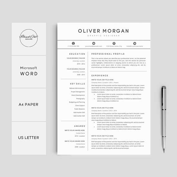 Resume Template Professional Resume + Cover Letter 3 Pages Pack - resume template for pages