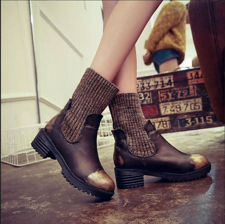 Fashion shoes Women winter Boots Square Heel Platforms