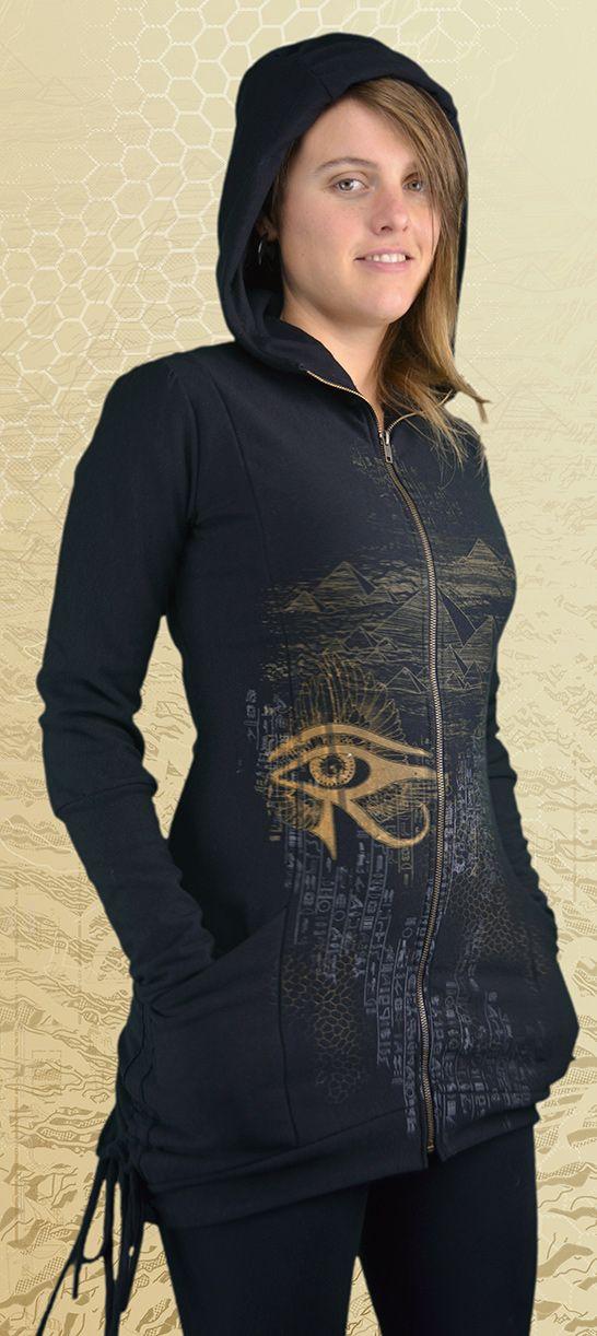 """""""Bastet"""" Bamboo Fleece Bustle Jacket, designs inspired by Egyptian Mythology, Egypt, Pyramids, Ankh, Scarab, Kundalini, Eye of Horus, Eye of Rah, Bastet cat goddess, sacred feminine, cat magic, goddess"""