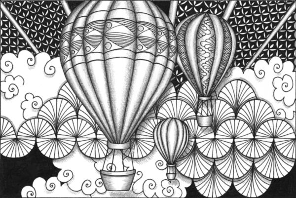 Zentangle Fill Around Objects...hot Air Balloons