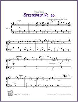 Theme from Symphony No. 40 (Mozart) | Free Sheet Music for Piano - http://makingmusicfun.net/htm/f_printit_free_printable_sheet_music/mozart-symphony-fourty-piano.htm