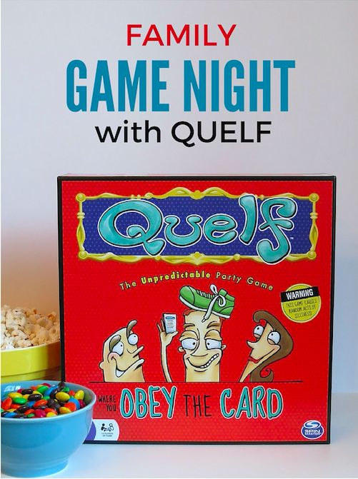 Play Quelf by Spin Master for your next game night.  It's fun, goofy and gets you out of your seat too.  #Quelf #ad
