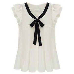 SheIn(sheinside) White Ruffle Sleeve Bow Tie Front Chiffon Blouse