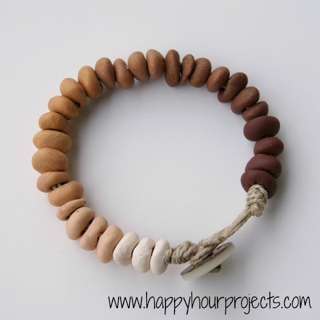 "Ombre Clay Bead Bracelet - easy and inexpensive! Polymer clay - at least one color and white to get your ombre effect. I used a few shades of brown. Toothpick, needle, skewer, etc. to make your holes. 24-48"" of hemp or cotton twine Button"