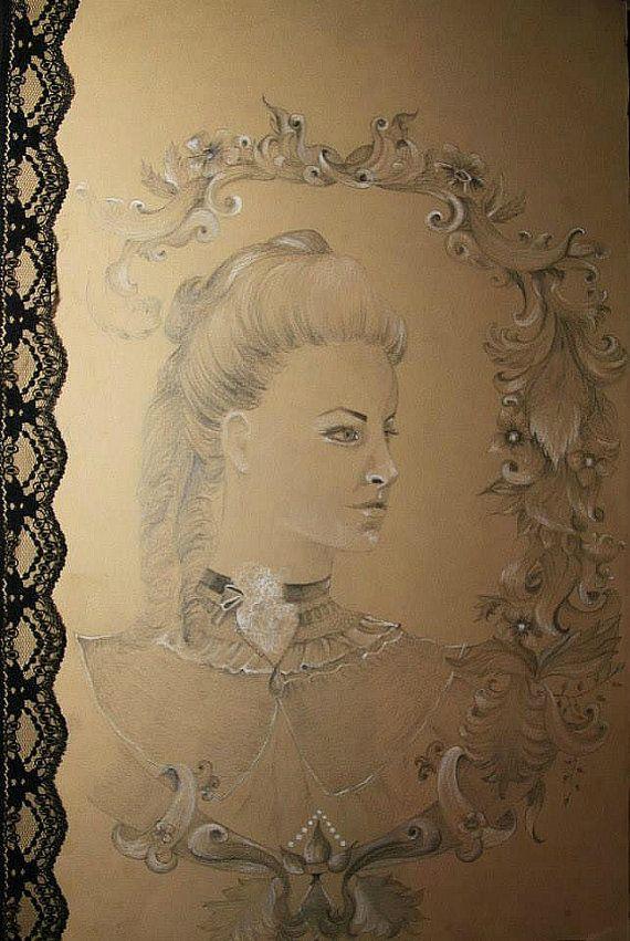 Original Victorian Pencil Drawing  Signed by MagdalenaCharlotte, $500.00