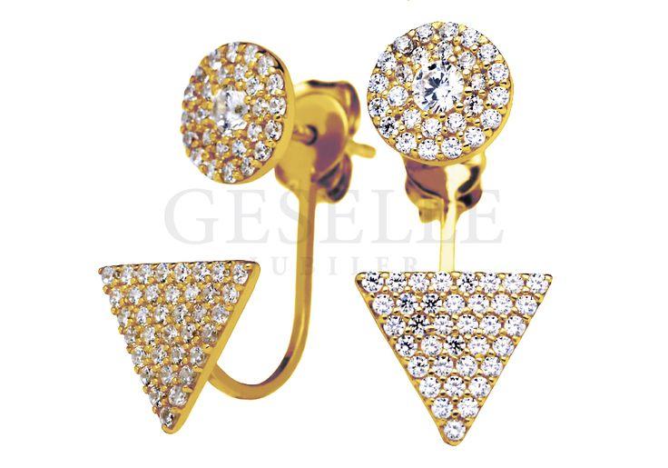 Oryginalne złote kolczyki próby 333 z lśniącymi cyrkoniami - dekoracyjny trójkąt i okrąg | ZŁOTO \ Żółte złoto \ Kolczyki NA PREZENT \ Urodziny NA PREZENT \ Mikołajki od GESELLE Jubiler