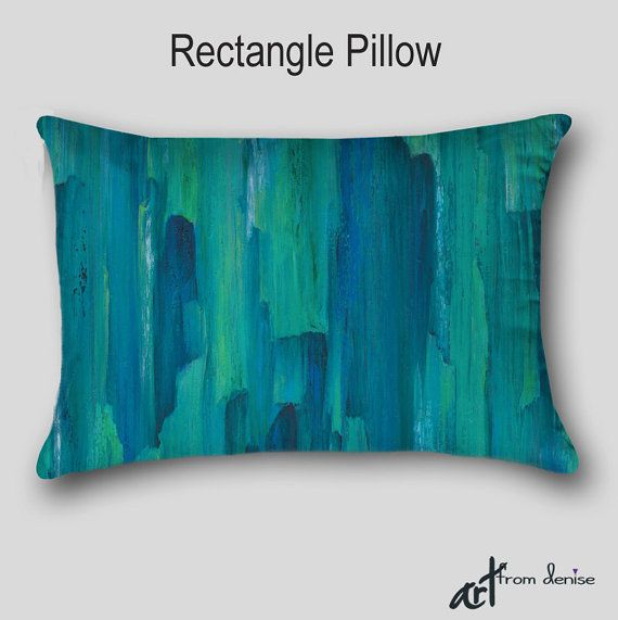 Abstract Decorative Pillows Oblong Or Square Gray Teal And Turquoise Blue Home Decor By