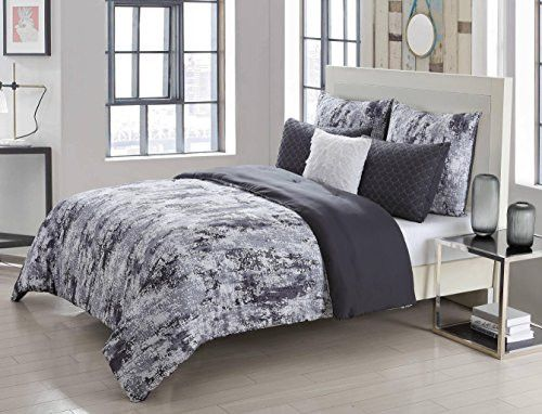 Park Avenue Collection Staas 6Pc Oversize/Overfilled King Comforter Set /Grey