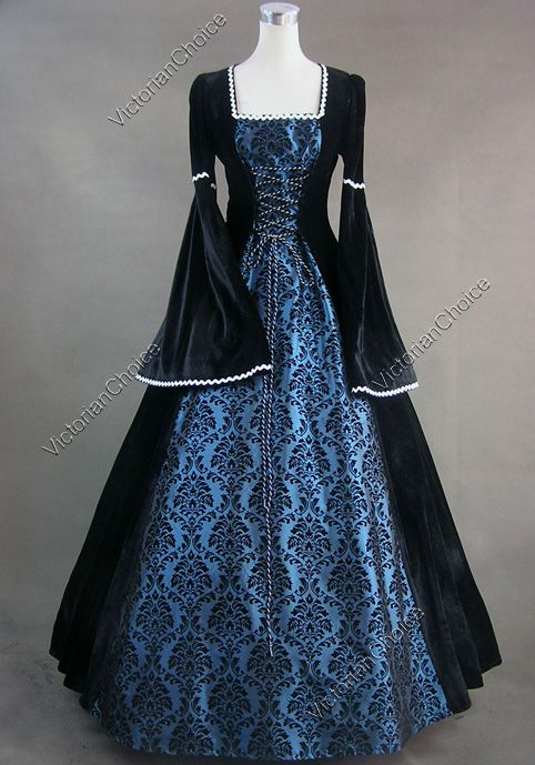 medieval+gowns | Details about Renaissance Gothic Velvet Dress Ball Gown Lolita 129 L