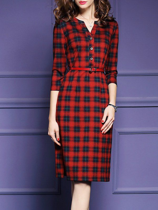 $22.04 Plaid Belted Side Slit Sheath Dress