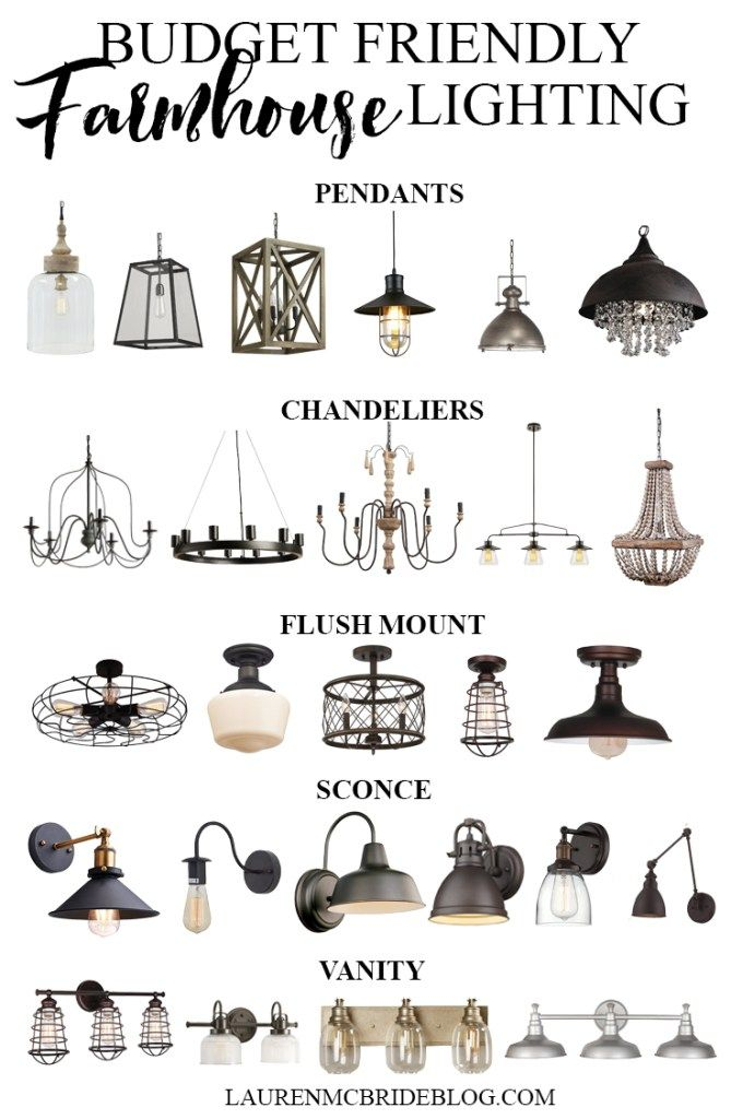 Check out these budget friendly farmhouse lighting options! All range from $20-$250!