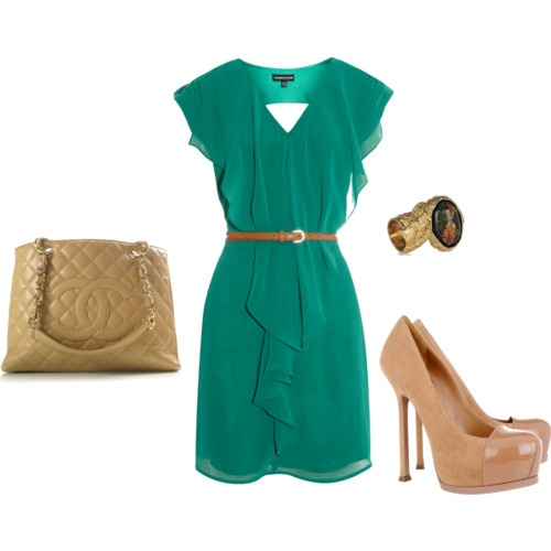 well this is aborbs. Love the color. Love the nude heels. : Date Night, Nude Shoes, Colors Combos, Chanel Bags, Style, Summer Outfits, Nude Heels, The Dresses, Green Dresses