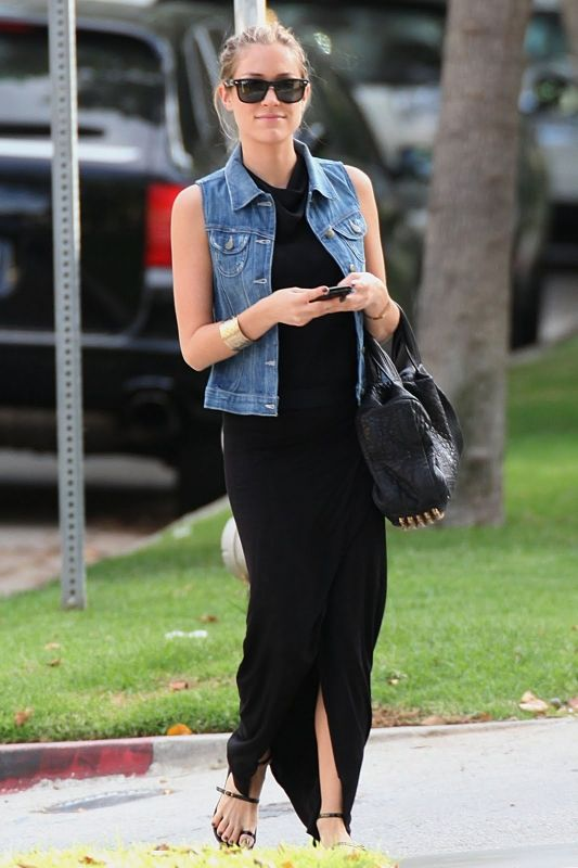 Kristin Cavallari wearing Ray-Ban RB2140 Original Wayfarer sunglasses in Black Alexander Wang Coco Duffel Bag Siwy Liela Denim vest Yves Saint Laurent Daiquiri Toe Ring sandals Mason by Michelle Mason Maxi Skirt