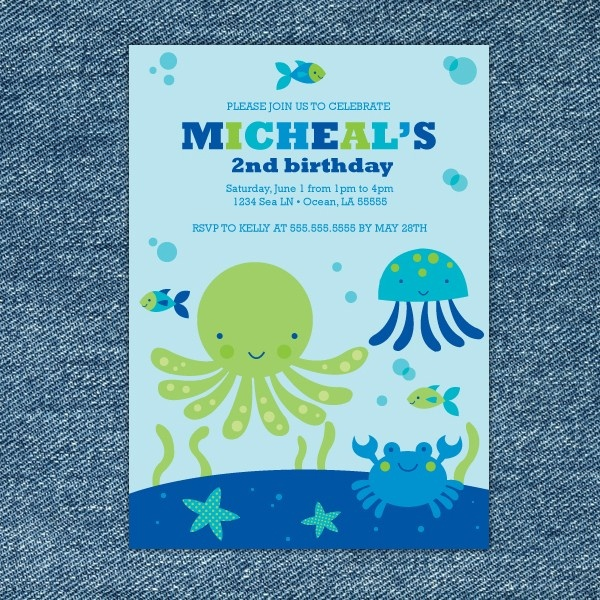 Under the Blue Sea Printable Birthday Party Invitation. $10.00, via Etsy.