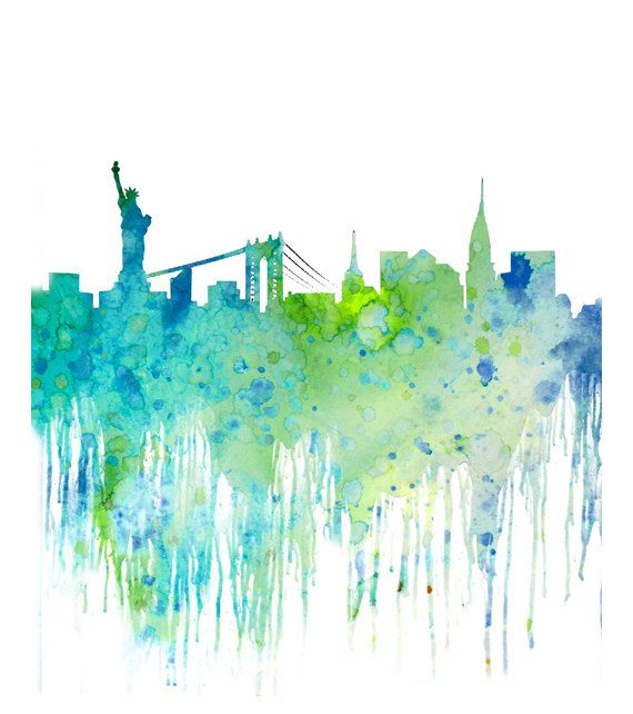 Blue watercolor skyline new york cityscape watercolor art for New york skyline painting