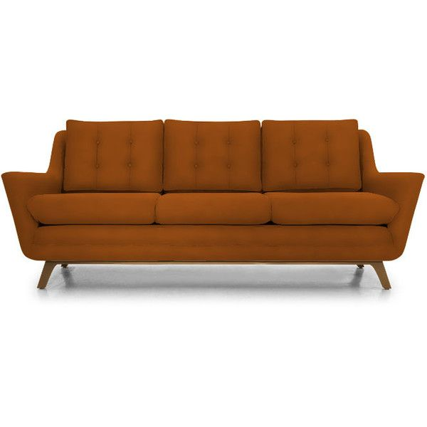 Joybird Eastwood Mid Century Modern Purple Leather Sofa (5 085 AUD) ❤ Liked  On