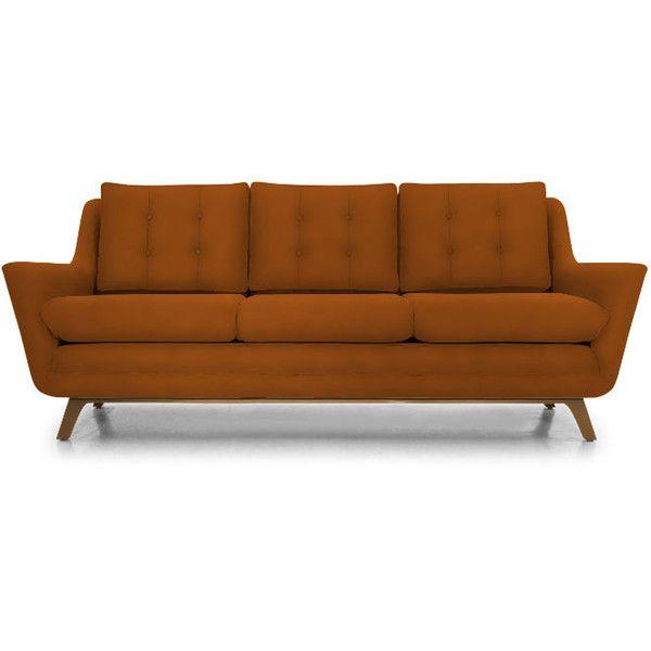 Joybird Eastwood Mid Century Modern Purple Leather Sofa (5 085 AUD) ❤ liked on Polyvore featuring home, furniture, sofas, sofa, home decor, purple, purple sofa, purple leather sofa, purple couch and mid-century sofa