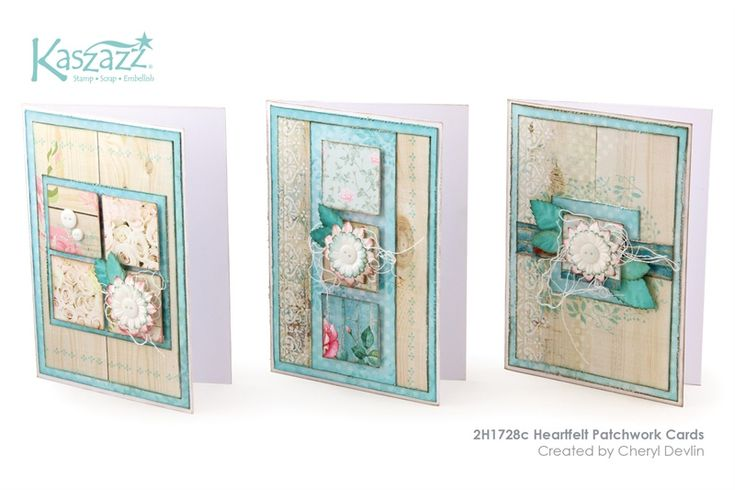 2H1728c Heartfelt Patchwork Cards