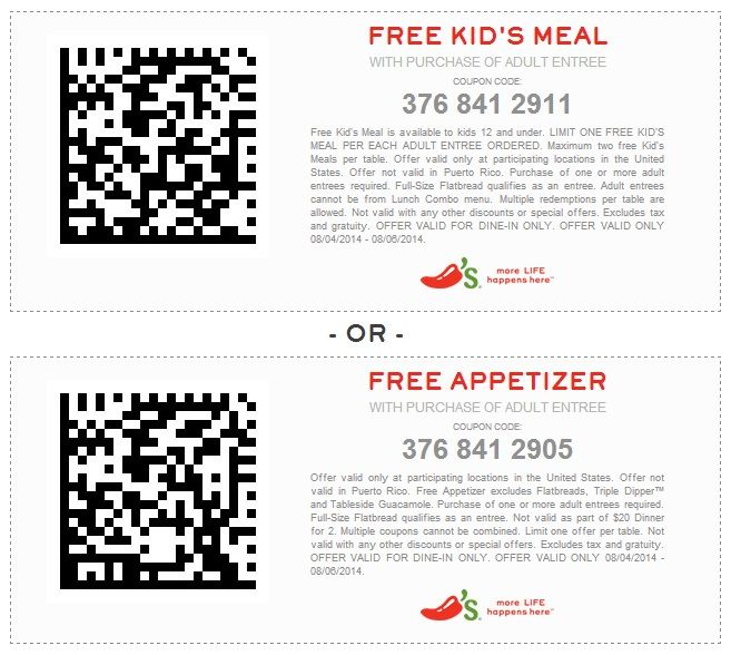 FREE Kid's Meal or Appetizer  Expires 8/6/2014  Chilis coupons http://www.pinterest.com/TakeCouponss/chilis-coupons/