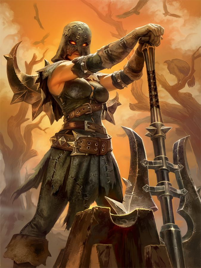 SMITE Nemesis Executioner by Scebiqu female fighter barbarian battleaxe axe armor clothes clothing fashion player character npc   Create your own roleplaying game material w/ RPG Bard: www.rpgbard.com   Writing inspiration for Dungeons and Dragons DND D&D Pathfinder PFRPG Warhammer 40k Star Wars Shadowrun Call of Cthulhu Lord of the Rings LoTR + d20 fantasy science fiction scifi horror design   Not Trusty Sword art: click artwork for source