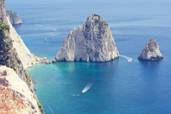 Mediterranean Seascape & Rocks  by DreamstaleStock on @creativemarket