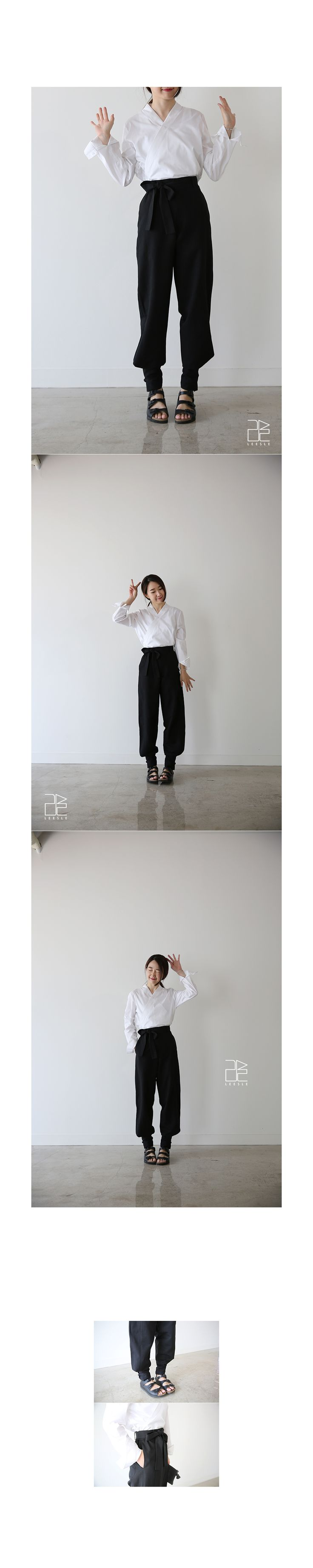 Crisscross collar influenced by the traditional Korean Hanbok style paired with loose pants