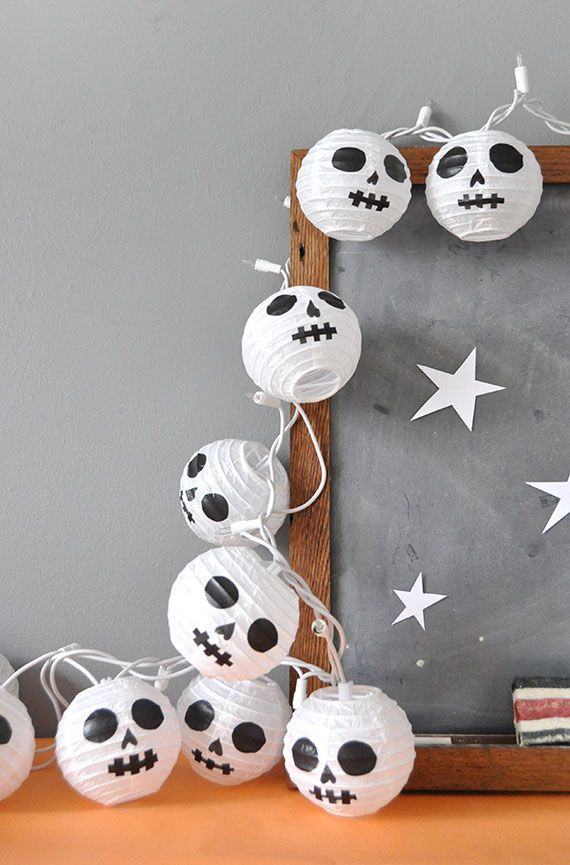 diy halloween paper lantern skulls - How To Make Paper Halloween Decorations