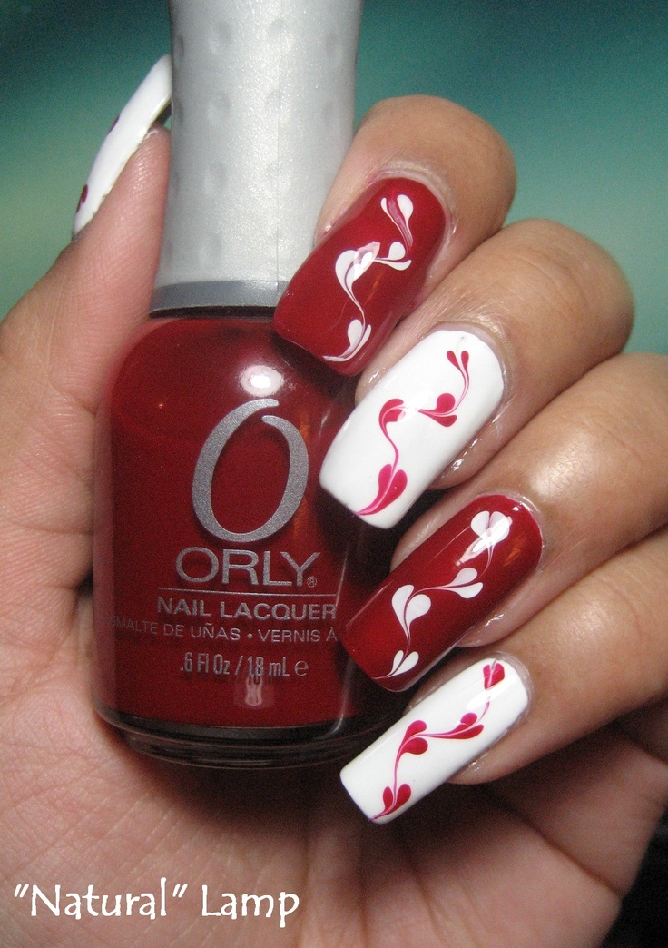 valentine's day marble nails