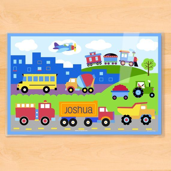 Personalized, Kids, Placemat, Trains, Kids Placemat