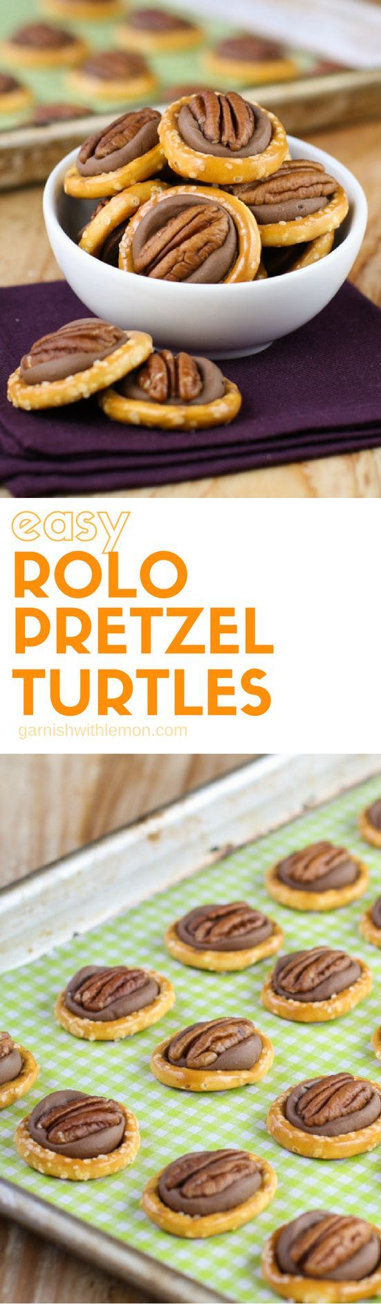 This 3-ingredient recipe for Easy Rolo Pretzel Turtles is always a hit at the holidays!