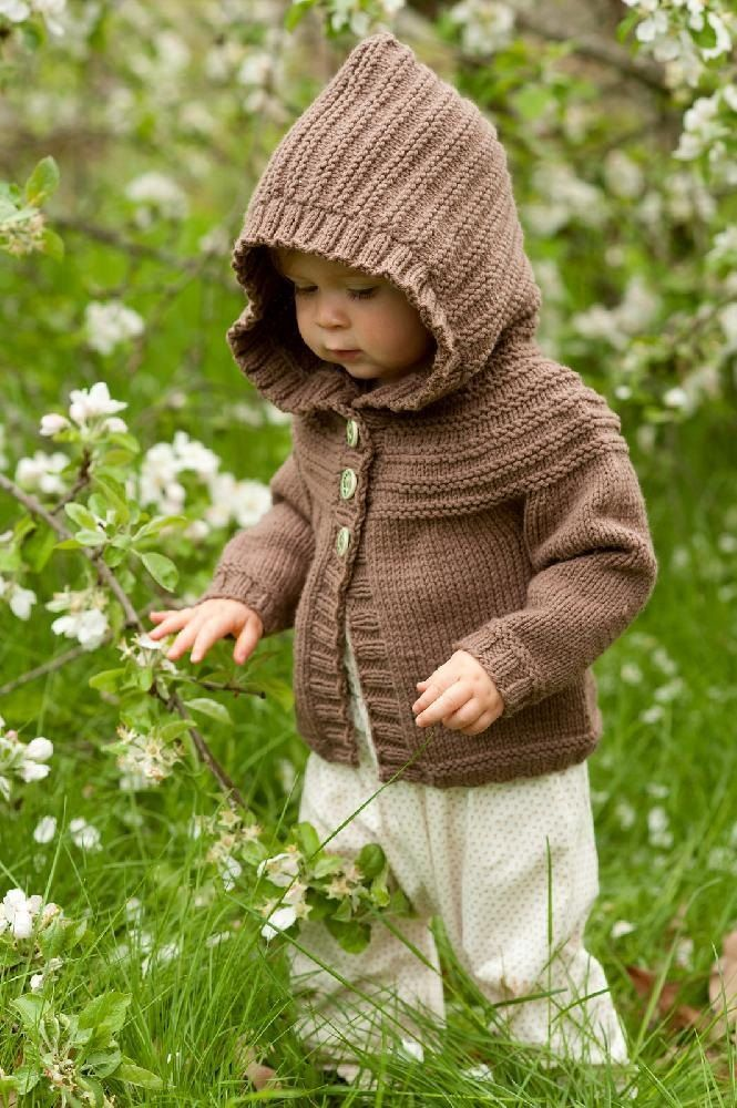 A super cute baby hoodie, worked from the bottom up. Find the pattern on LoveKnitting.com!