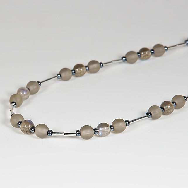 Grey necklace, Glass beaded necklace, Budget jewellery, Stocking filler £7.00