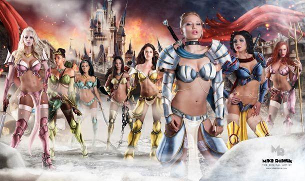 """""""Happily Ever After"""", ou les princessesDisney transformées enguerrières sexy à grand renfort de Photoshop par Mike Kuhsor... De quoi imaginer des suites"""