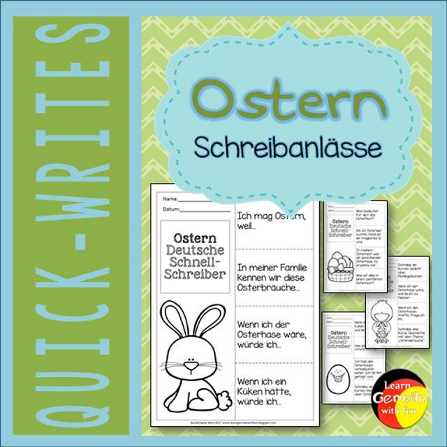 Hier gibt es tolle Schreibanlässe für Ostern in der Schule. Verwendbar als Schreibanlass aber auch für Gesprächsanlässe. Für Grundschule und DaF-Unterricht.