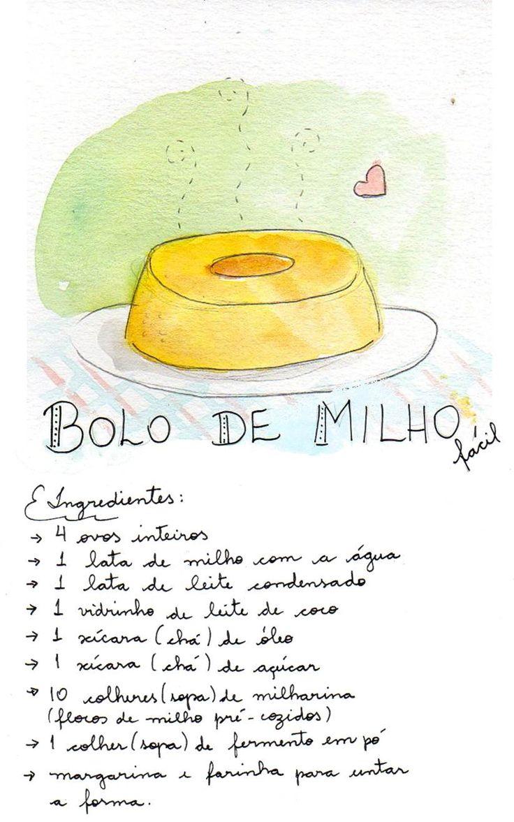 Dia de Desenho: Receita ilustrada - Bolo de Milho