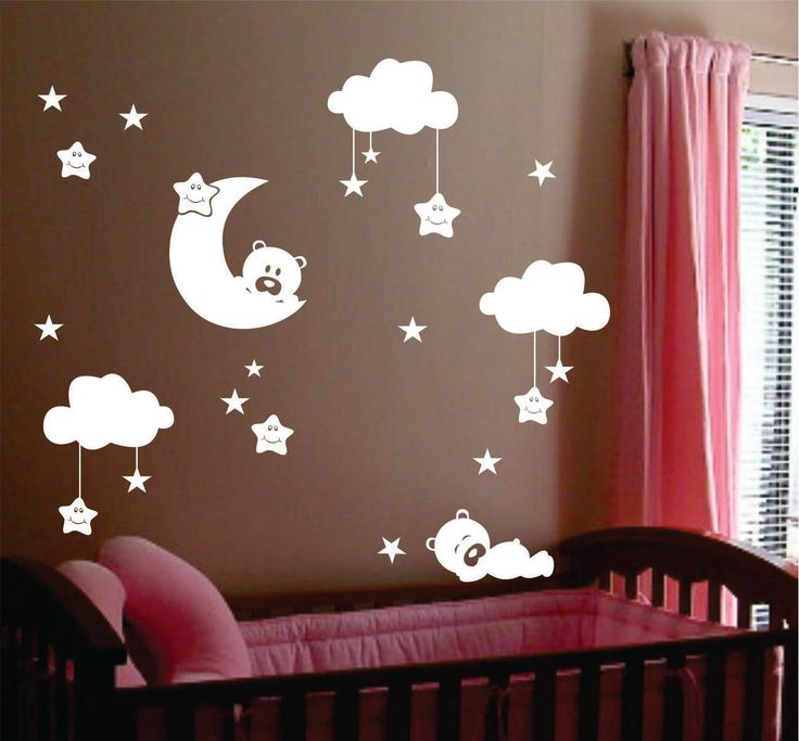 Nursery Vinyl Wall Decals Sleepy Bears Smiling Stars Moon Clouds Kit Lettering Quotes