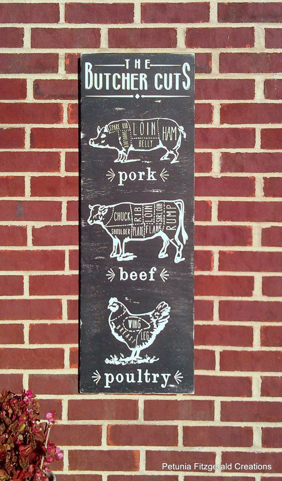 12x36 Vintage Inspired Butchers Cut Diagram Painted Wood Sign on Etsy, $80.00