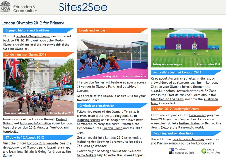 London Olympics Sites2See: A page of links to quality Olympics related websites and resources: http://ow.ly/bcVbN