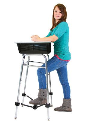 This really works!    A Standing Desk with a band to kick/ pump/ fidget using your foot.