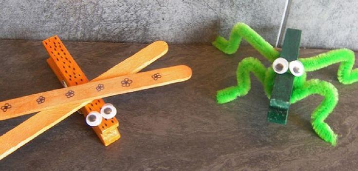 Voici 2 petites idées d\\\'activité créative et originale pour réaliser deux insectes avec une pince à linge. Deux idées de bricolage facile pour les enfants à partir de 3 ans. Intérêt : création facile et originaleMatériel : 2 pinces à linge, 1 cure pipe, 4 petits yeux mobiles, 2 bâtonnets de ...