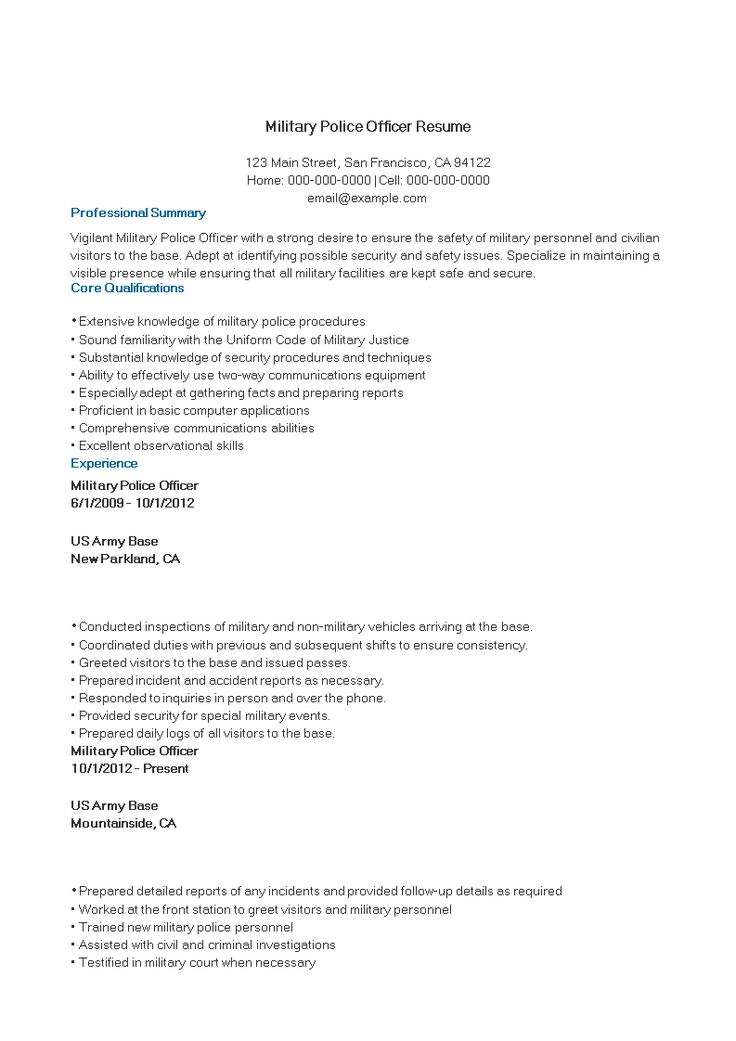 Military Police Officer Resume sample How to create a
