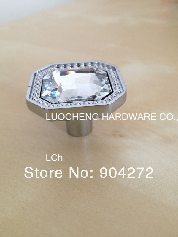 30PCS LOT FREE SHIPPING 32MM SQUARE CLEAR CUT CRYSTAL KNOBS ZINC BASE GLASS HANDLES