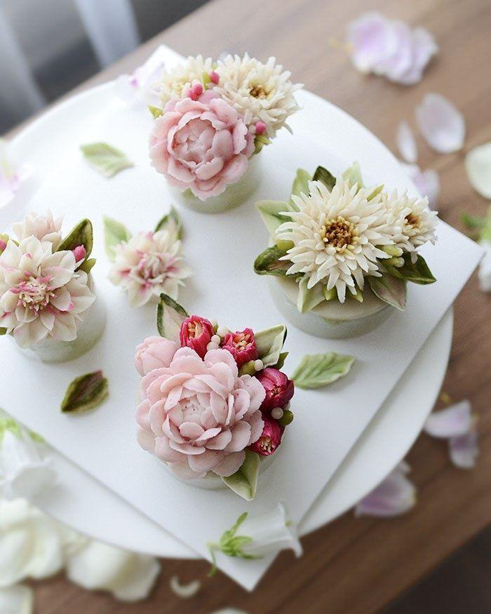 제이케이크 심화반 컵설기수업  동양적인 느낌도 나면서  화려한 꽃들💕  오늘도 예쁨!!  #컵케이크