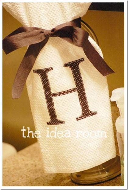DIY - Monogrammed hand towel.  Christmas Gifts!