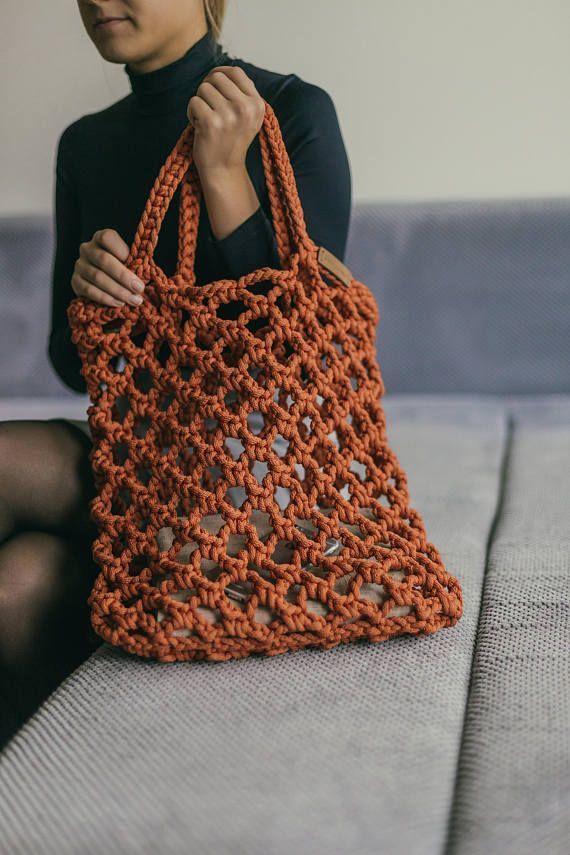 Crochet Tote Bag is perfect as a market handbag or beach bag. crocodile