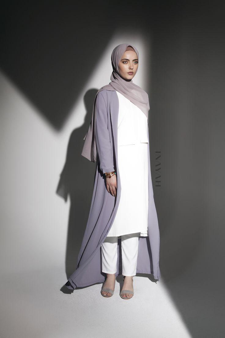INAYAH | Encapsulate effortless aesthetics in our classic oversized kimonos. Grey Oversized #Maxi #Kimono + White Textured Layered #Midi + White Straight Leg #Trousers + Washed Lilac Grey Soft Crepe #Hijab - www.inayah.co