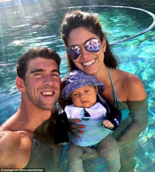 Boomer Phelps was pictured on his Instagram taking a swim with he parents on Wednesday