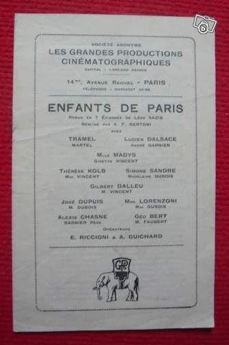 Dossier de presse de Enfants de Paris (1924) #chrisdeparis 20€