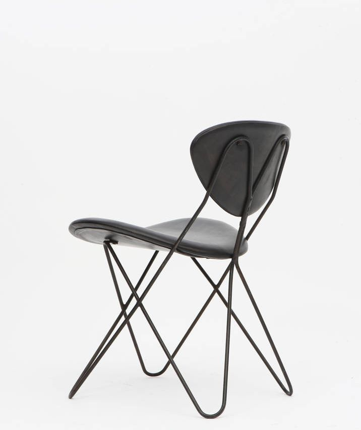 Raoul Guys; Enameled Metal and Leather Chair for Cité Universitaire d'Antony, 1950s.